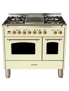 40 In. 4.0 Cu. Ft. Double Oven Dual Fuel Italian Range True Convection,5 Burners, Lp Gas, Brass Trim/Antique White by Hallman