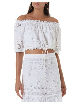 Francesca Off The Shoulder Eyelet Crop Top by Melissa Odabash