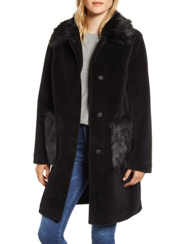 Velvet Front Coat With Faux Fur Trim by Sam Edelman