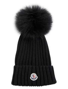 Rib Wool Hat With Genuine Fox Fur Pom by Moncler