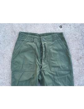 Vintage 1970s U.S. Army Vietnam War Sateen Og 107 Green Cotton Button Fly Pants Size 31 X 32 Military Fatigues Trousers Cargo by Etsy