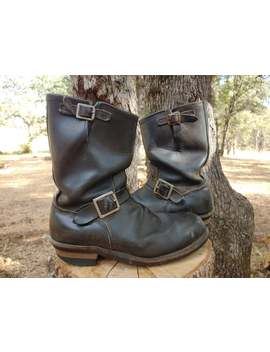 1960s Motorcycle Boots Black Leather Steel Toe Engineer Biker Boots Mens 10 by Etsy