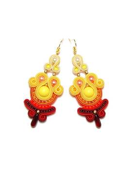 Soutache Earrings Yellow Orange Red Ombre Handmade Jewelry Sutasz Sale Orecchini Pendientes Boucles D'oreilles Oorbellen Ohrringe Brincos by Etsy