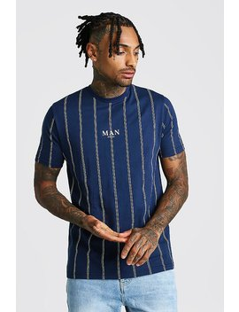 Man Official Print Vertical Stripe T Shirt by Boohoo