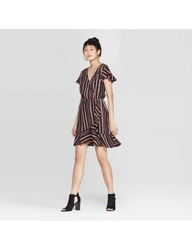 Women's Striped Short Sleeve Deep V Neck Wrap Mini Dress   Xhilaration™ Black by Xhilaration