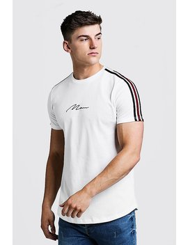 Man Signature Curved Hem T Shirt With Tape Detail by Boohoo
