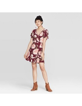Women's Floral Print Short Sleeve Deep V Neck Wrap Mini Dress   Xhilaration™ Burgundy by Xhilaration