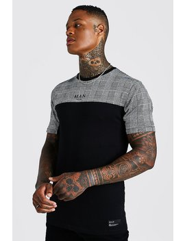 Muscle Fit Man Jacquard Check Panel T Shirt by Boohoo