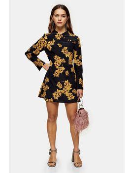 Petite Black Floral Printed Mini Dress by Topshop