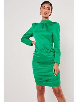 Petite Green Satin High Neck Ruched Mini Dress by Missguided