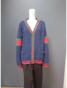 Gucci 100  Percents Wool V Neck Cardigan New With Tag Size : L Enamel Buttons by Gucci