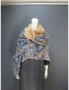 45rpm 45 R Silk & Fur Shawl / Cape New With Tag  Hand Crafted Fabric by 45rpm 45 R