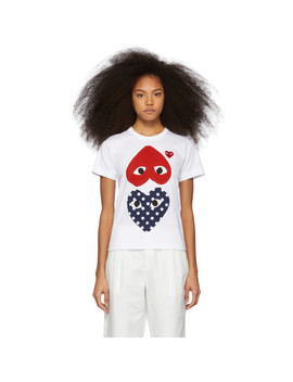 White & Red Polka Dot Hearts T Shirt by Comme Des GarÇons Play