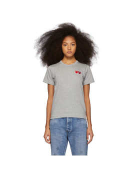 Grey & Red Double Hearts T Shirt by Comme Des GarÇons Play