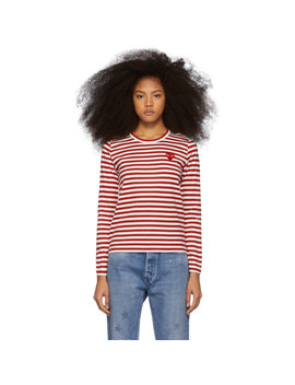 Red & White Striped Heart Patch Long Sleeve T Shirt by Comme Des GarÇons Play