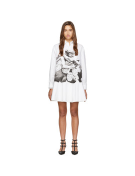 White Poplin Graphic Lovers Shirt Dress by Valentino