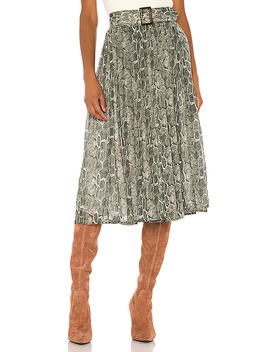 Phoebe Midi Skirt In Green Snake by Song Of Style