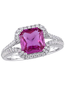 Bellini 2.45 Cttw Pink Sapphire & 1/3 Cttw Diamond Halo Ring by Bellini