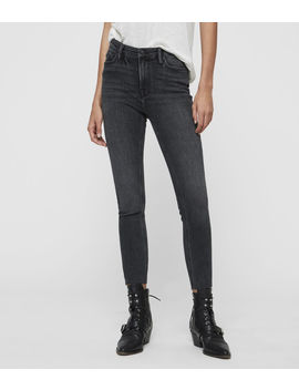 Roxanne Cropped High Rise Skinny Jean, Washed Black by Allsaints