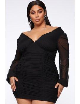 Always Innocent Ruched Mini Dress   Black by Fashion Nova
