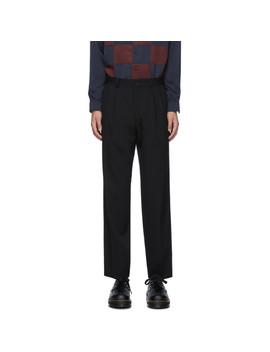 Black Cotton Twill Pleated Trousers by Comme Des GarÇons Homme Deux