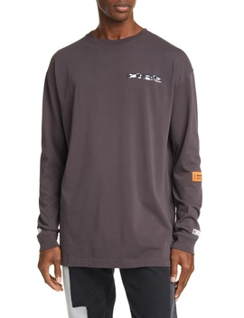 Fire Long Sleeve Graphic T Shirt by Heron Preston