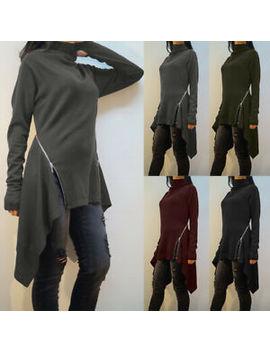 Zanzea Women Long Shirt Tops Turtleneck Jumper Asymmetrical Split Side Blouse by Ebay Seller