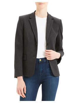 Houndstooth Shrunken Two Button Jacket by Theory