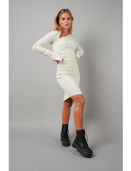 Draped Asymmetric Ribbed Dress Beige by Hannaschonbergxnakd