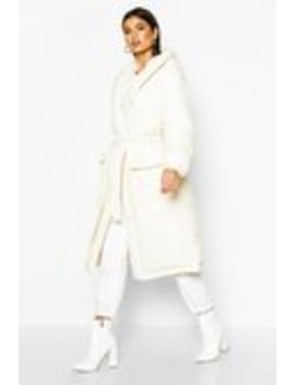 Hooded Belted Longline Puffer Hooded Belted Longline Puffer by Boohoo
