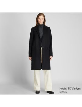 Women Wool Cashmere Blend Chesterfield Coat by Uniqlo