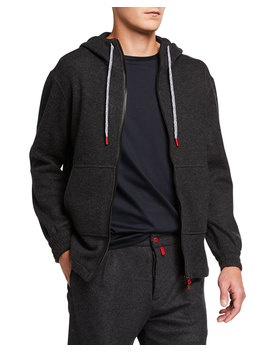 Men's Cashmere Blend Jersey Hoodie Jacket by Kiton