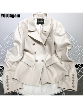 Yolo Again Women Genuine Leather Jacket Ladies Double Breasted Ol Leather Blazer by Ali Express.Com
