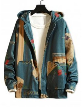 Hot Newspaper Flower Letter Graphic Print Hooded Jacket   Blue Xl by Zaful