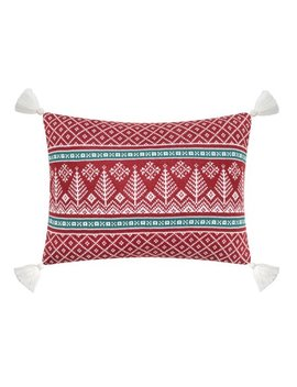 "Better Homes & Gardens Feather Filled Fair Isle Intarsia Knit Oblong Decorative Throw Pillow With Tassels, 14"" X 20"", Red & White by Better Homes & Gardens"