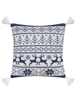 "Better Homes & Gardens Feather Filled Fair Isle Sweater Knit Decorative Throw Pillow With Tassels, 20"" X 20"", Blue & White by Better Homes & Gardens"