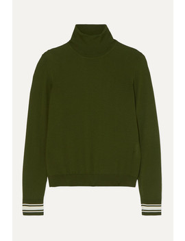Striped Merino Wool Blend Turtleneck Sweater by Golden Goose