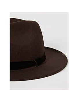 Brown Velveteen Band Fedora Hat by Asda