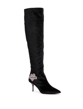 Knee High Velvet Pointed Toe Boot by Love Moschino