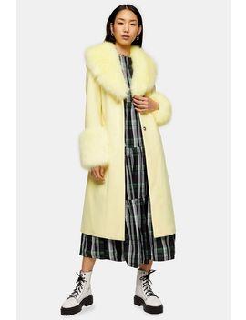 Yellow Faux Fur Trim Coat by Topshop