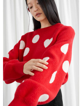 Relaxed Heart Motif Dotted Sweater by & Other Stories
