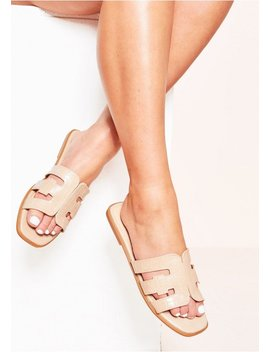Nylah Beige Croc Print Cut Out Sandals by Missy Empire
