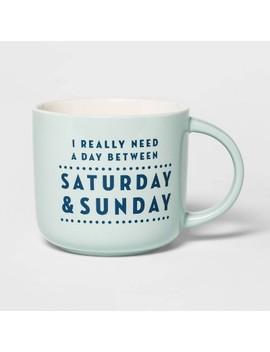 15oz Stoneware Saturday And Sunday Mug Blue   Threshold™ by Threshold