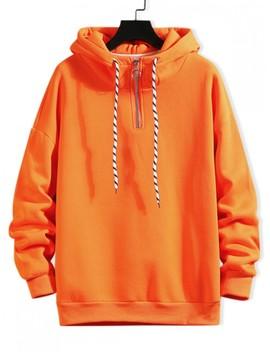 Sale Solid Ring Vent Zip Drawstring Fleece Hoodie   Papaya Orange M by Zaful