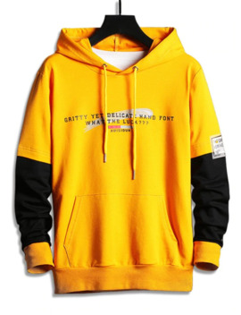 Sale Colorblock Splicing Letter Graphic Drawstring Hoodie   Yellow M by Zaful