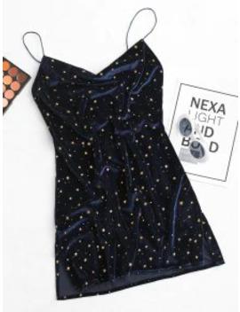 Popular Stars Side Slit Cowl Front Velvet Dress   Deep Blue M by Zaful