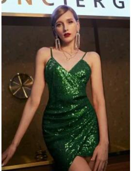 Popular Zaful Sequins Draped Cami Mini Dress   Medium Forest Green Xl by Zaful