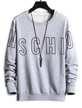 Sale Letter Print Graphic Basic Sweatshirt   Gray Goose M by Zaful