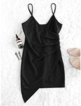 Hot Zaful Ruched Cami Party Dress   Black Xl by Zaful