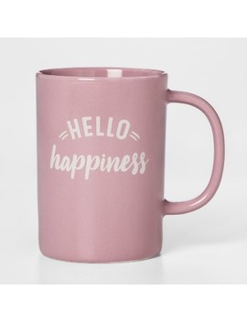 14oz Porcelain Hello Happiness Mug Pink   Threshold™ by Threshold